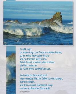 Große Postkarte: Tosendes Meer - Du hältst meine Verzweiflung aus
