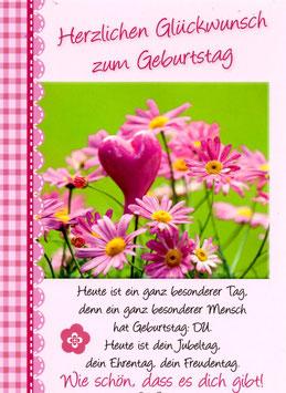 Pinkes Herz in Blumen - Herzl. Glückwunsch