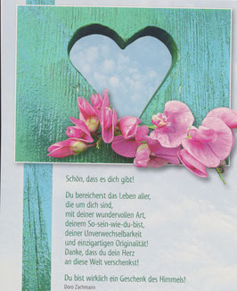 Große Postkarte: Herz im Holz - Du bist ein Geschenk des Himmels