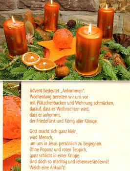 Postkarte Adventskranz - Ankommen