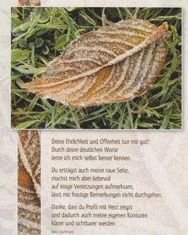 Große Postkarte: Gefrorenes Blatt: Profil mit Herz