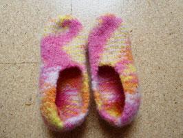 Filz-Hausschuhe / Pantoffeln für Kinder Gr. 29/30 gelb/rosa/orange