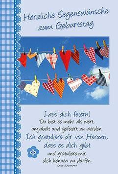 Herzen an Wäscheleine - Lass dich feiern!