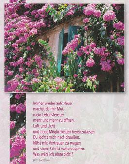 Große Postkarte: umblühtes Fenster -  Du machst mir Mut