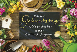 Geburtstags-Faltkarte: Gärtnermotiv