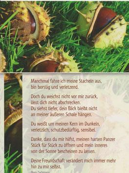 Postkarte Kastanien - du weichst nicht vor mir zurück