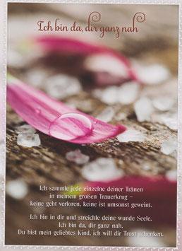 Wassertropfen auf pinkem Blütenblatt - Ich bin da, dir ganz nah