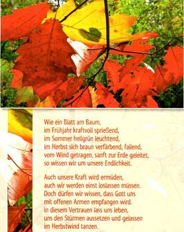 Postkarte Herbstblätter - einst loslassen