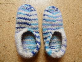 Filz-Hausschuhe / Pantoffeln für Kinder Gr. 33/34 weiß/blau