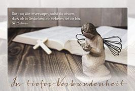 Trauer-Faltkarte: Engel im Gebet