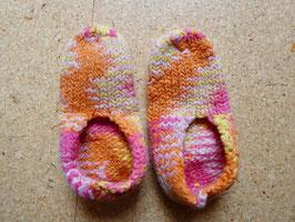 Filz-Hausschuhe / Pantoffeln für Kinder Gr. 32/33 gelb/pink/orange/rosa