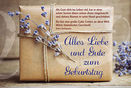 Postkarte: Lavendel auf Päckchen