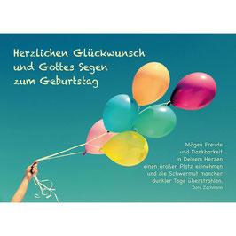 Postkarte: Luftballons - Mögen Freude und Dankbarkeit
