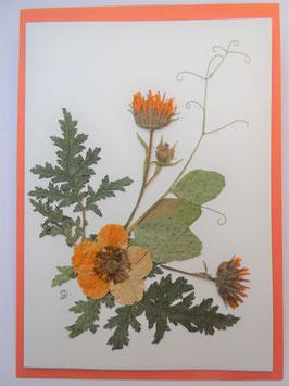 "3er Set Blüten-Faltkarten ""orange - gelb - lila"" BFP11"