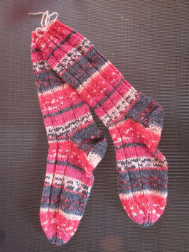 Strick-Socken Gr. 36/37 rot/grau