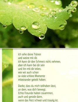 Postkarte: Wassertropfen - Ich sehe deine Tränen
