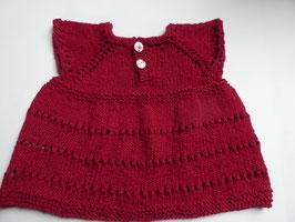 Süßes Baby-Kleidchen aus dunkelroter Kuschel-Baumwolle Gr 80/86 mit stoffbezogenen Rund-Knöpfen