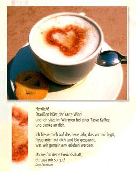 Postkarte Tasse Kaffee - draußen bläst der Wind