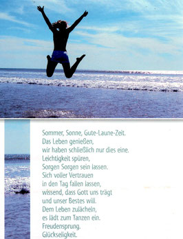 Große Postkarte: Sprung am Meer - Sommer, Sonne, Gute Laune