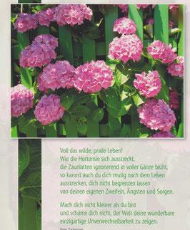 Große Postkarte: Hortensie und grüner Zaun - lass dich nicht begrenzen