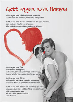 Postkarte: Gott segne eure Herzen