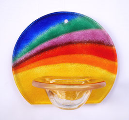 Glas-Weihwasserkessel rund blau-gelb mit Regenbogen W9