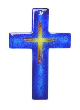Glaskreuz blau mit Motiv Kreuz 24 cm Nr. 12