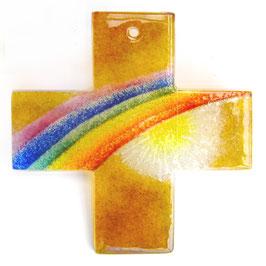 Wandkreuz Nr. 40, 13, 5 cm goldgelb mit Sonne und Regenbogen