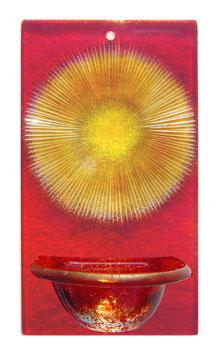 Glas Weihbecken mit geschliffenen Strahlen W1