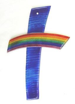 Wandkreuz aus Glas Regenbogen gebogen Nr. 39