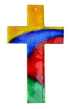 Glaskreuz Vier Farben 26 cm Nr. 37