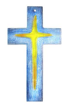 Glaskreuz mit plastischer Form 26 cm Nr. 36