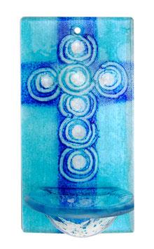 Glas Weihbecken aquamarin und blau mit Spiraldekor W12