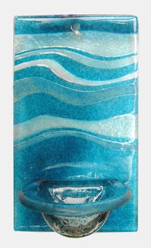 Glas Weihbecken Wellen Aquamarin W1