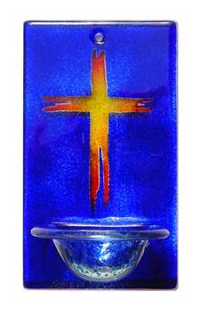 Glas Weihbecken Blau mit Kreuz W1