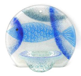 Glas Weihbecken rund mit Fisch W9