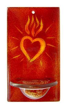 Glas Weihbecken rot mit Herz W1