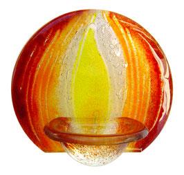 Glas Weihbecken rund mit Flamme W9