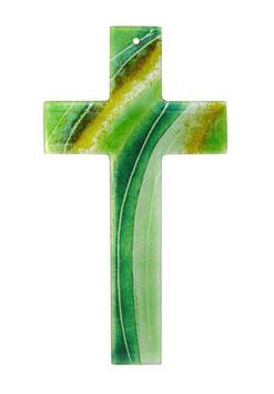 Kreuz grün oder violett auf opak-weiss 28 cm Nr. 26