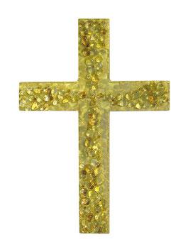 Kreuz mit echtem Gold und Glaskieseln 36 cm Nr. 1