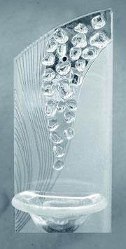 Glas Weihbrunnen transparent mit geschliffenem Dekor W