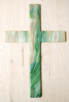 Glaskreuz marmoriert 38 cm