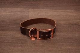 Lederhalsband metallic dunkelbraun