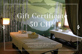 Gift card value 50 chf
