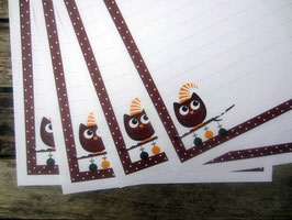 20 Weihnachtseulen-Briefbogen A4
