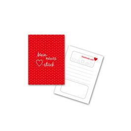 """50 Textilkennzeichnungs-Schildchen """"Mein neues ♥-Stück"""" rot"""