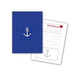 50 Textilkennzeichnungs-Schildchen Anker blau