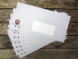 20 Weihnachtseulen-Briefumschläge