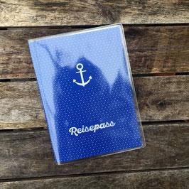 Reisepass-Hülle | Anker mit blauen Punkten