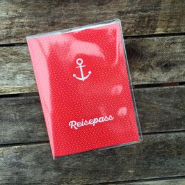 Reisepass-Hülle | Anker mit roten Punkten